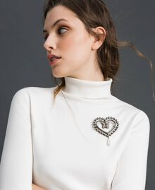 Herzbrosche mit Schmetterling, Chatons und Perle Kristall Frau 192TA436K-0S