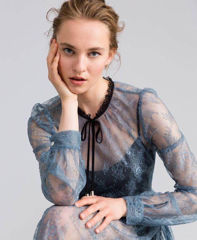 Long Valencienne lace dress Dusty Blue Woman PA82F2-04