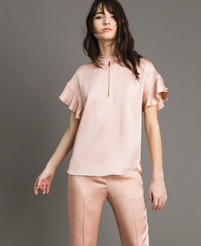 """Teardrop opening blouse """"Nude"""" Beige Woman 191TP2694-03"""