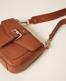 Round Rebel shoulder bag Leather Brown Woman 202TD8172-03