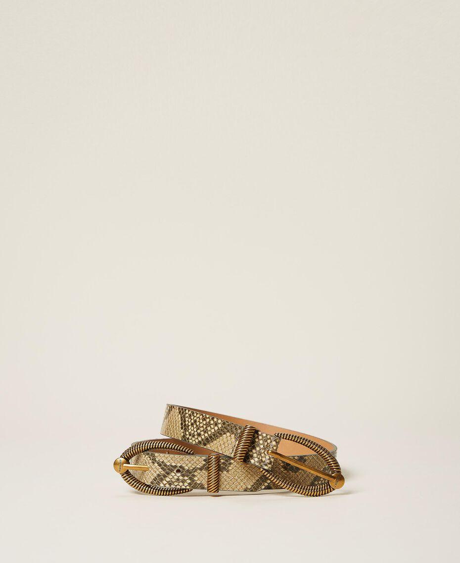 Кожаный ремень с животным принтом Принт Питон Пастельная кожа женщина 202TO501A-01
