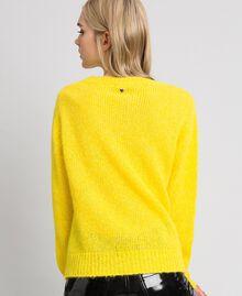 Maglia in misto mohair con stampa laminata Yellow Donna 192MT3220-04