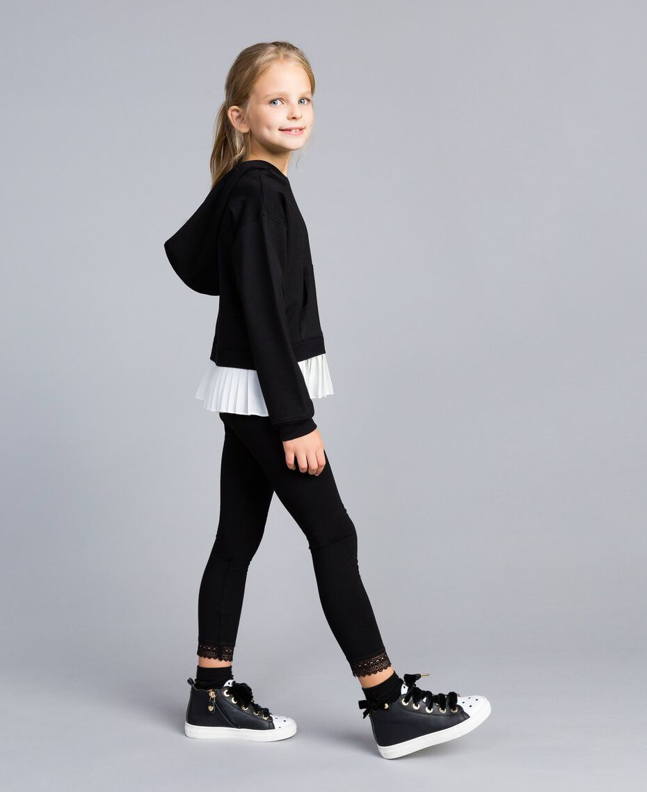 Sweat en point de Milan avec finition plissée Bicolore Noir / Blanc Cassé Enfant GA82FP-02