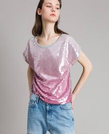 T-shirt avec sequins dégradés Bicolore Mélange Gris Clair / Rose Hortensia Femme 191MP2062-02