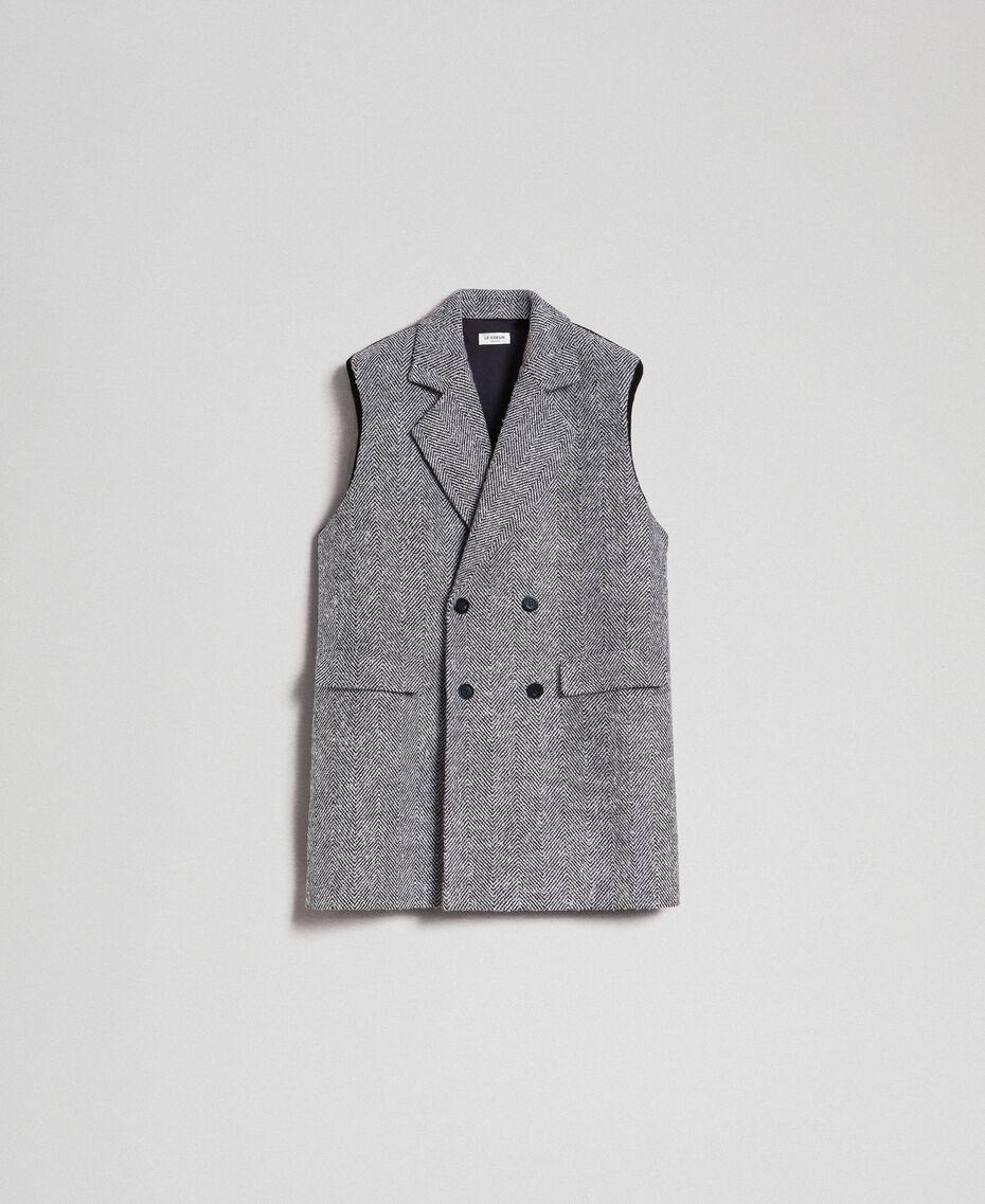 Double breasted chevron wool cloth waistcoat Black Jacquard / Creamy White Woman 192ST2101-0S