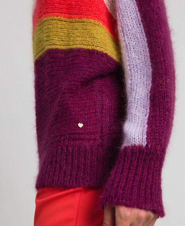 Mehrfarbig gestreifter Pullover aus Mohair Multicolorstreifen Samtrot Frau 192TT3272-04