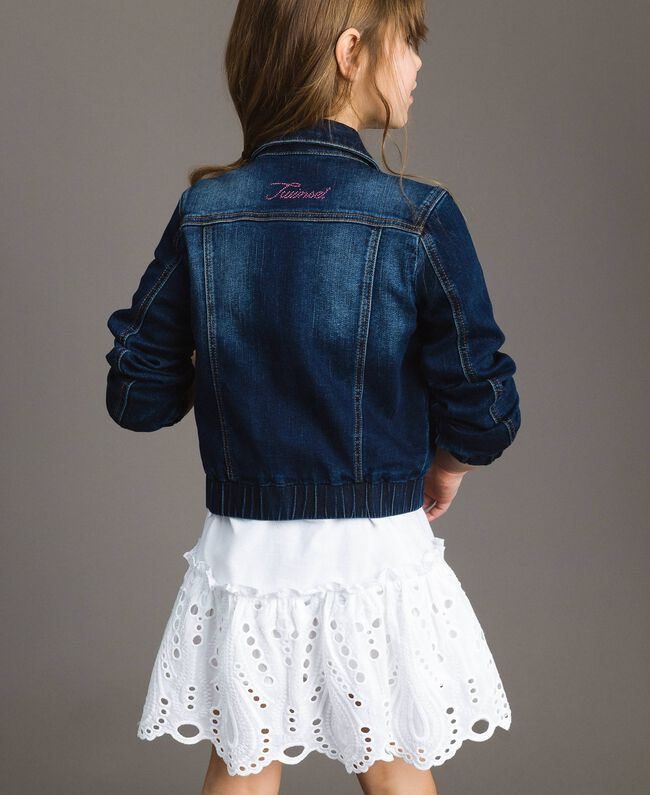 Denim jacket with stones Dark Denim Child 191GJ2632-03