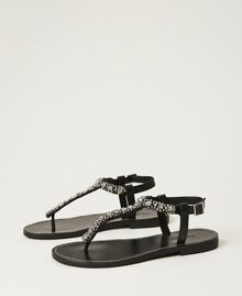 Thong sandals with bezels and rhinestones Black Woman 211TCT044-01