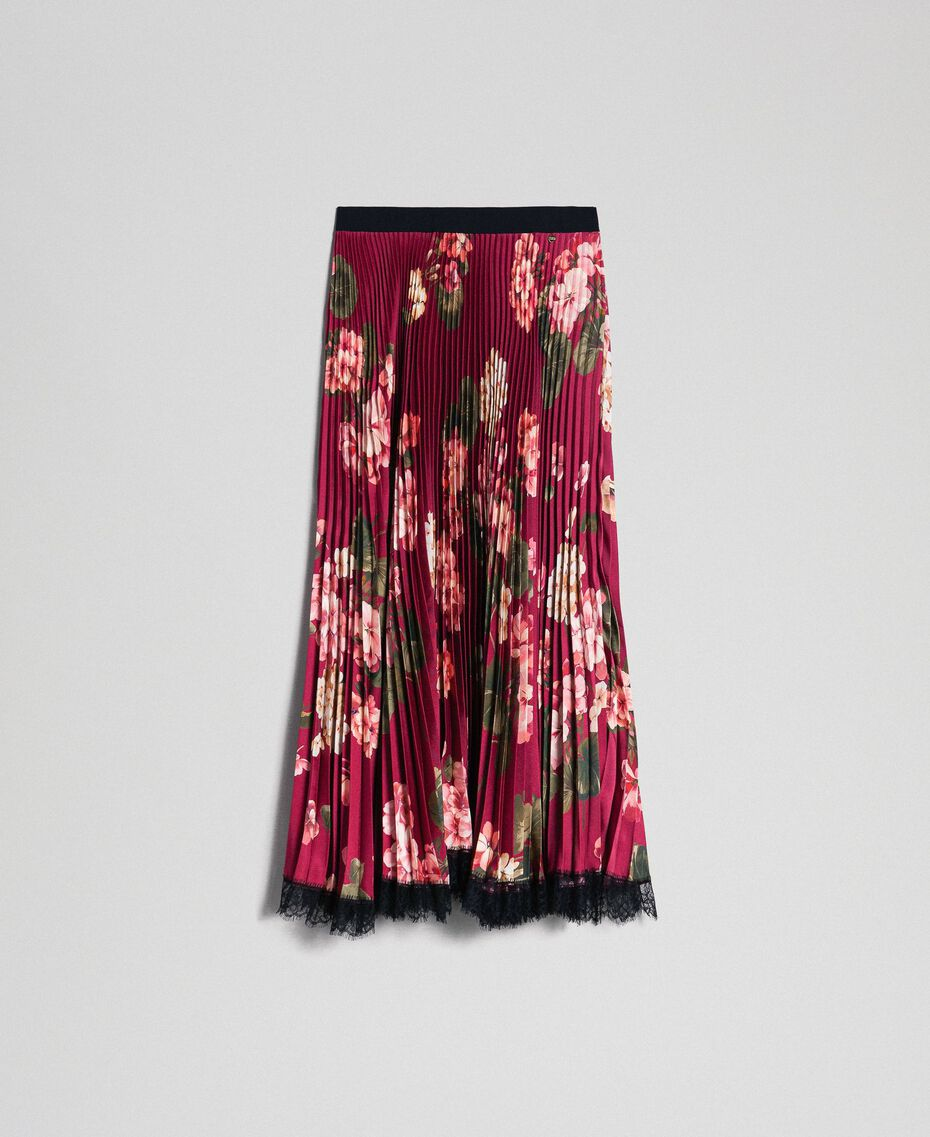 Long pleated skirt in floral twill Beet Red Geranium Print Woman 192TP2609-0S