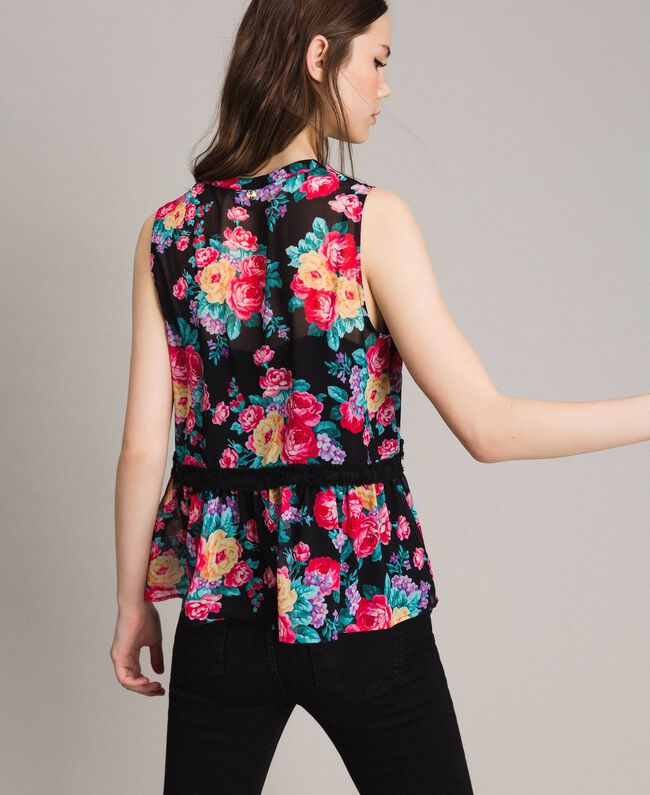 Georgette top with ribbon and flounce Black Flowers Print Woman 191MP2332-03