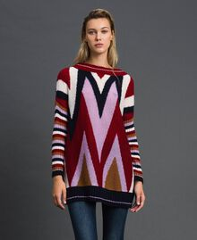 "Multicolour wool and mohair maxi jumper ""Samba"" Red Chevron Woman 192ST3110-01"