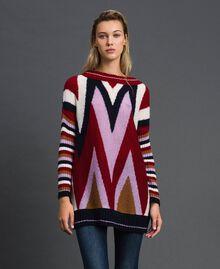 Maxi pull multicolore en laine et mohair Chevrons Rouge «Samba» Femme 192ST3110-01