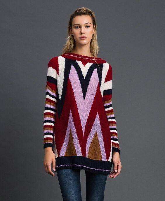 Maxi pull multicolore en laine et mohair