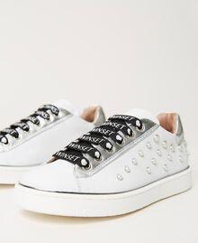 Sneakers de piel con cuentas Hueso Niño 211GCJ060-02