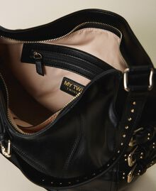 Faux leather hobo bag with straps Black Woman 202MA7041-05