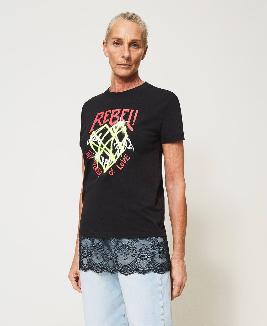 Printed T-shirt with lace Black Woman 211MT2300-02