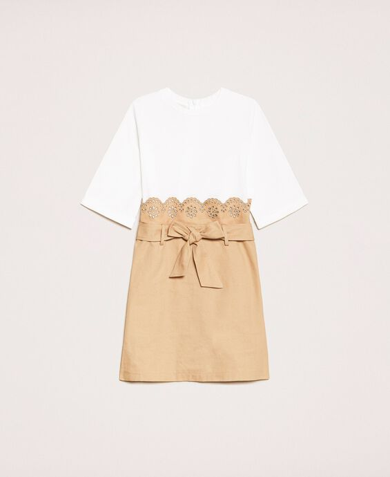 Canvas dress with broderie anglaise