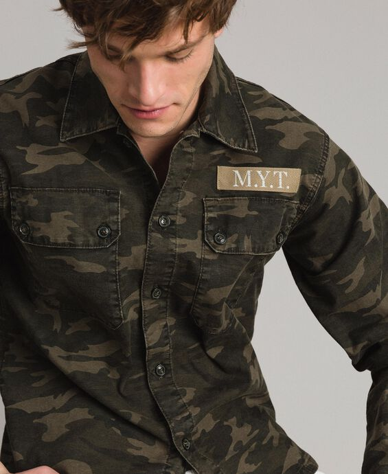 Camouflage print cotton shirt
