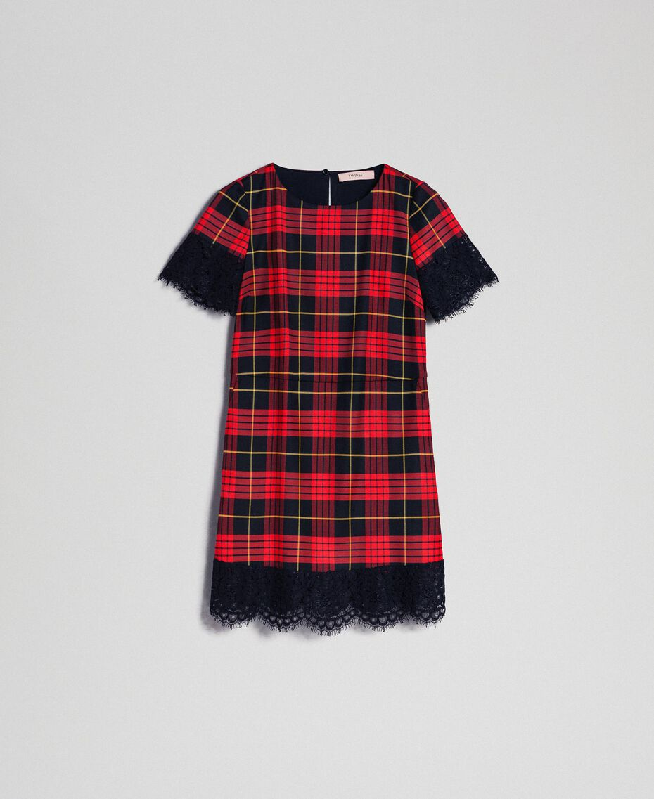 Chequered wool dress with lace Pomegranate Tartan Jacquard Woman 192TP2621-0S