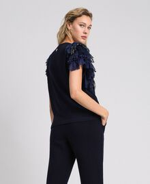 Cashmere blend jumper with fringes Midnight Blue Woman 192TT3300-03