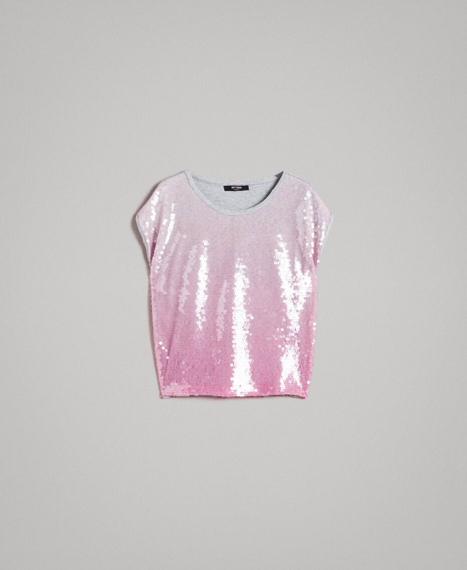 T-shirt with fading sequins Two-tone Melange Light Grey / Hydrangea Pink Woman 191MP2062-0S