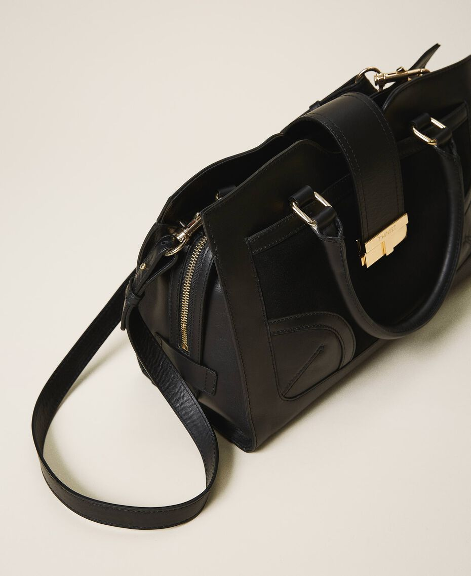 Smooth leather and suede shopper Black Woman 202TB7283-02