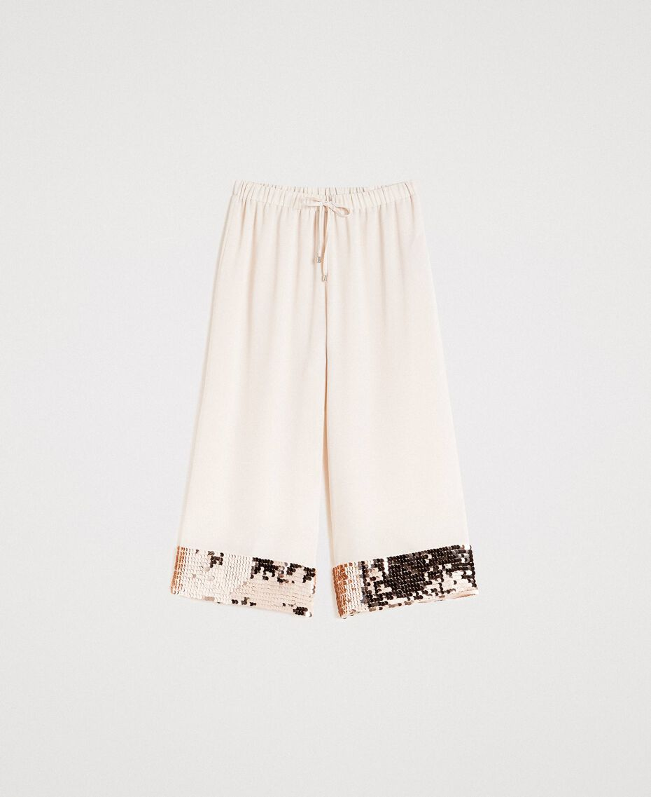 """Cropped trousers with sequins """"Milkway"""" Beige Woman 191LM2CBB-0S"""