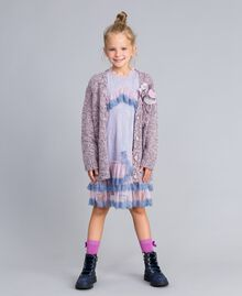 Maxi cardigan in mouliné yarn Multicolour Jacquard Child GA83EN-0T
