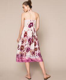 Printed satin skirt-dress Flirty Rose Unevenly Dyed Print Woman 201LB2GLL-06