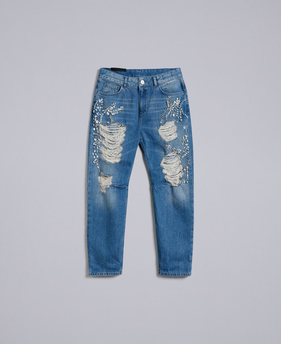 Jeans girlfriend con ricami Denim Blue Donna JA82V1-0S