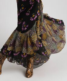 Slip dress with floral print Black Mixed Flowers Print Woman 192TT2144-06
