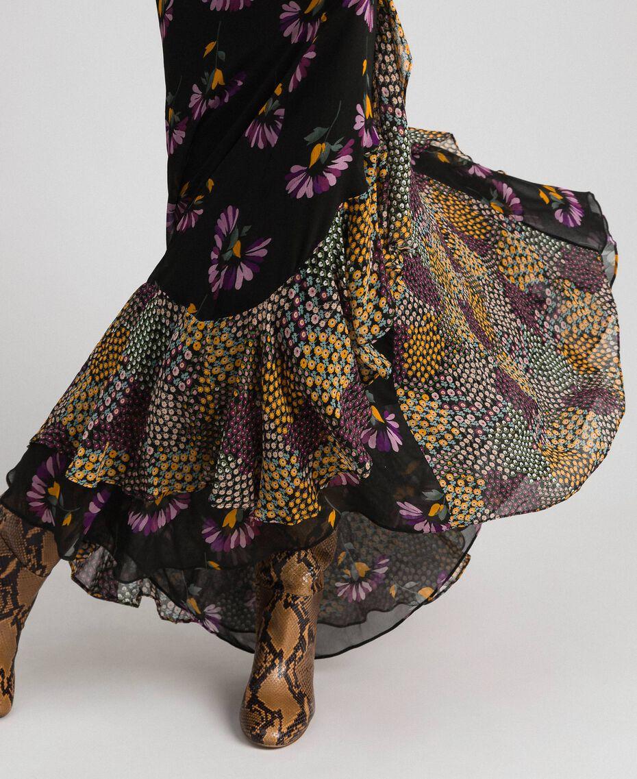 Abito sottoveste con stampe floreali Stampa Mix Flower Black Donna 192TT2144-06