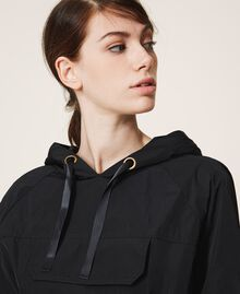 Taffeta jacket with hood Black Woman 202MP2142-05