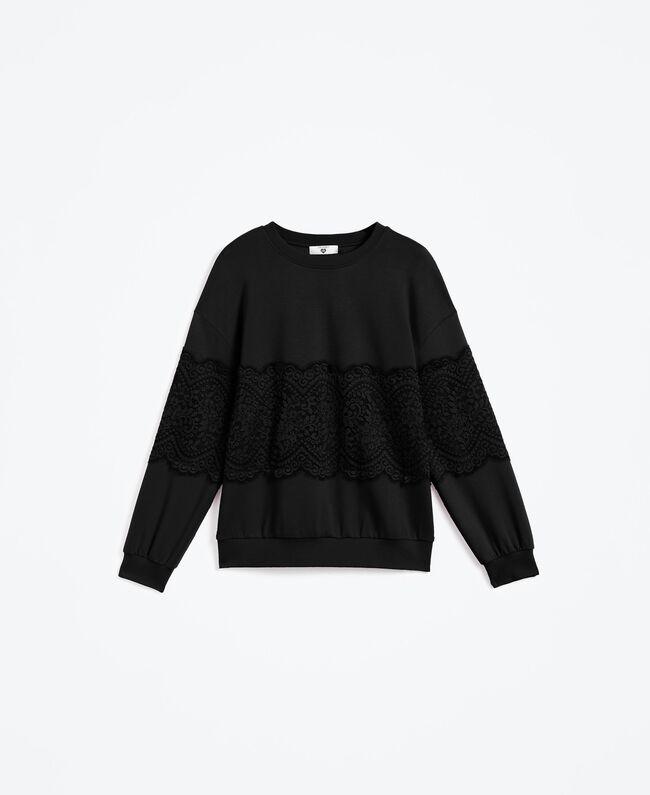 Viscose sweatshirt with lace Black Woman IA8CCC-01