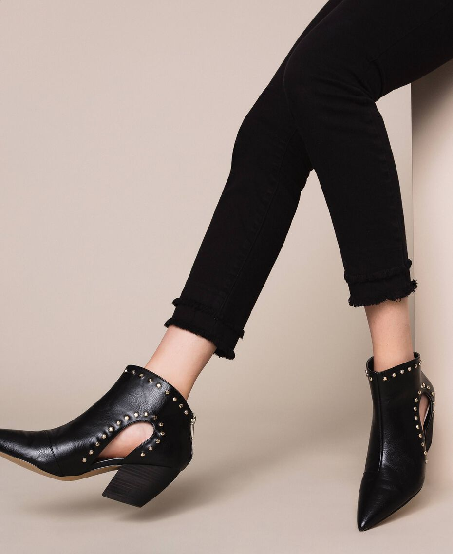 Ankle boots with cutout and studs Black Woman 201MCP080-0S