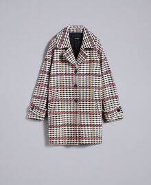 Oversized houndstooth coat Large Multicolour Check Jacquard Woman PA826H-0S