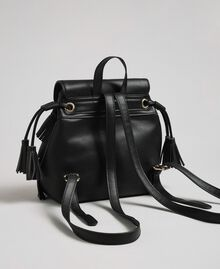 Faux leather backpack with fringes and studs Black Woman 192MA7022-04