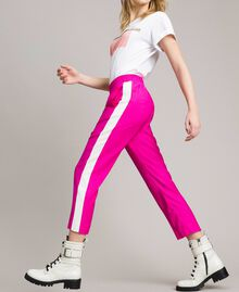 """Georgette trousers Two-tone """"Electric Pink"""" / Silk White Woman 191TP2328-01"""