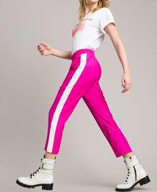 """Georgette-Hose Zweifarbig """"Electric Pink"""" / Seidenweiß Frau 191TP2328-01"""
