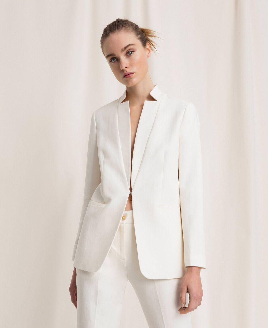 Blazer en lin mélangé Blanc Neige Femme 201TP2252-05