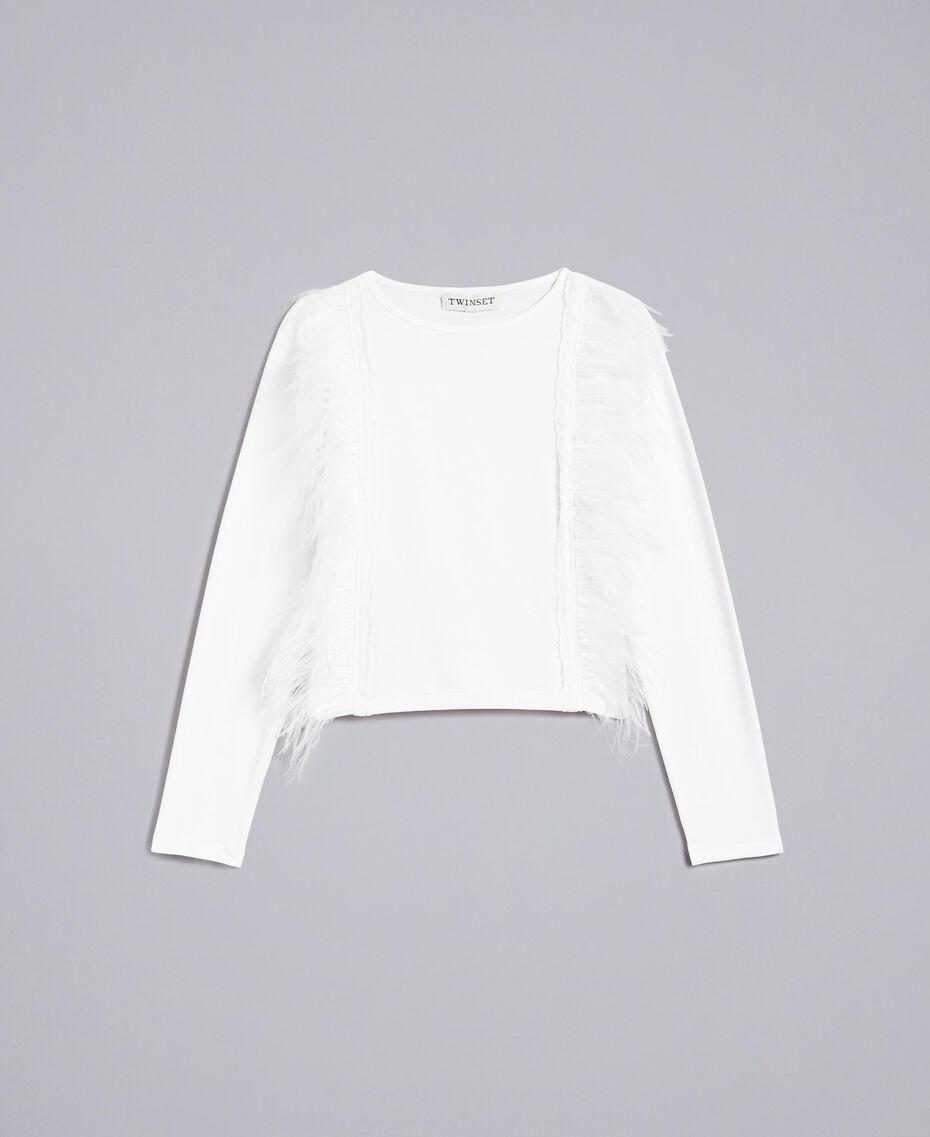 T-Shirt aus Baumwolle mit Federn Mattweiß Kind GA827B-01