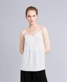 Top en soie avec petits cœurs Imprimé Cœurs Blanc Neige/ Noir Femme PA82N5-04