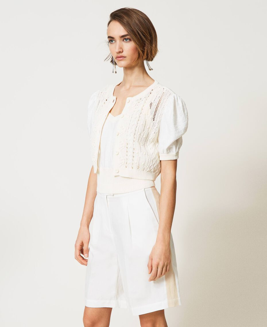 Cardigan with mixed knit, openwork and top Vanilla White Woman 211MT3171-03