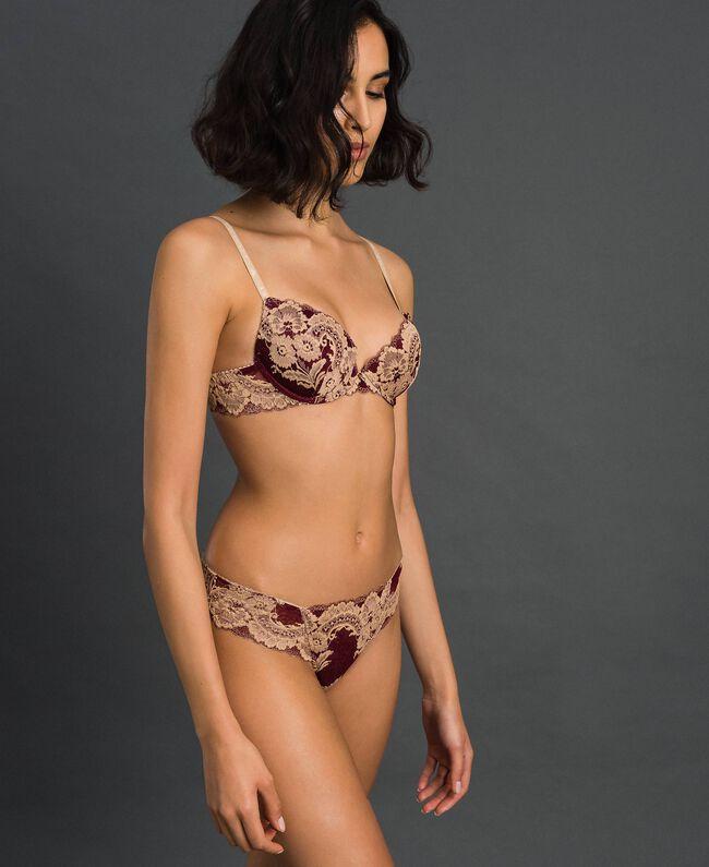 Culotte en dentelle bicolore Ivoire / Noir Femme 192LL6D66-01