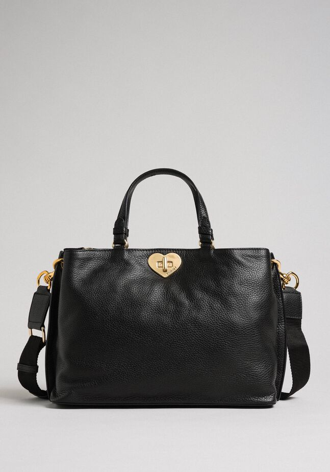 Small leather shopper with shoulder strap