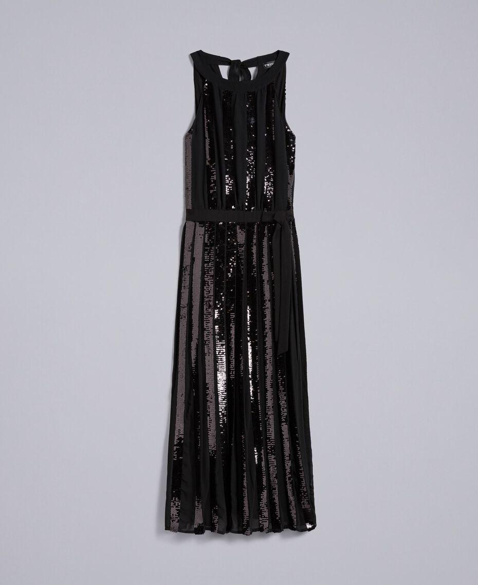 Robe longue en crêpe georgette avec paillettes Noir Femme PA82J1-0S