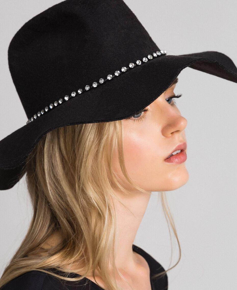 Hut mit breiter Krempe und Strass Schwarz Frau 192TA4391-0S