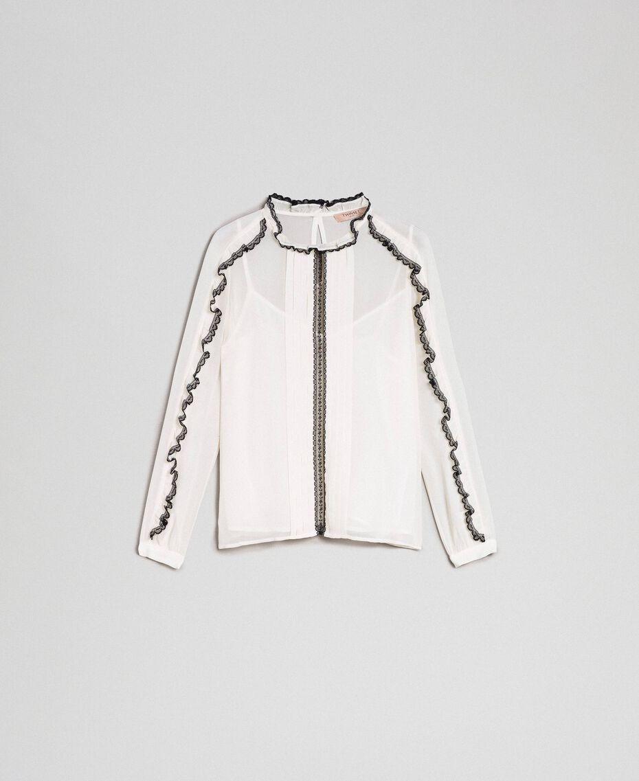 Bluse aus Georgette mit Mikrorüschen und Spitze Zweifarbig Schneeweiß / Schwarz Frau 192TP2571-0S