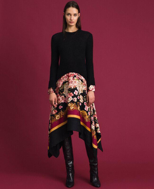 Kleid aus Mohair und bedrucktem Twill Schwarz / Foulardprint Frau 192TP3060-01