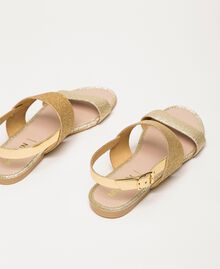 Flat sandals with glitter Glitter Platinum Gold Woman 201MCT014-02